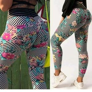 01195 Women's High Waist Yoga Pants Leggings Print